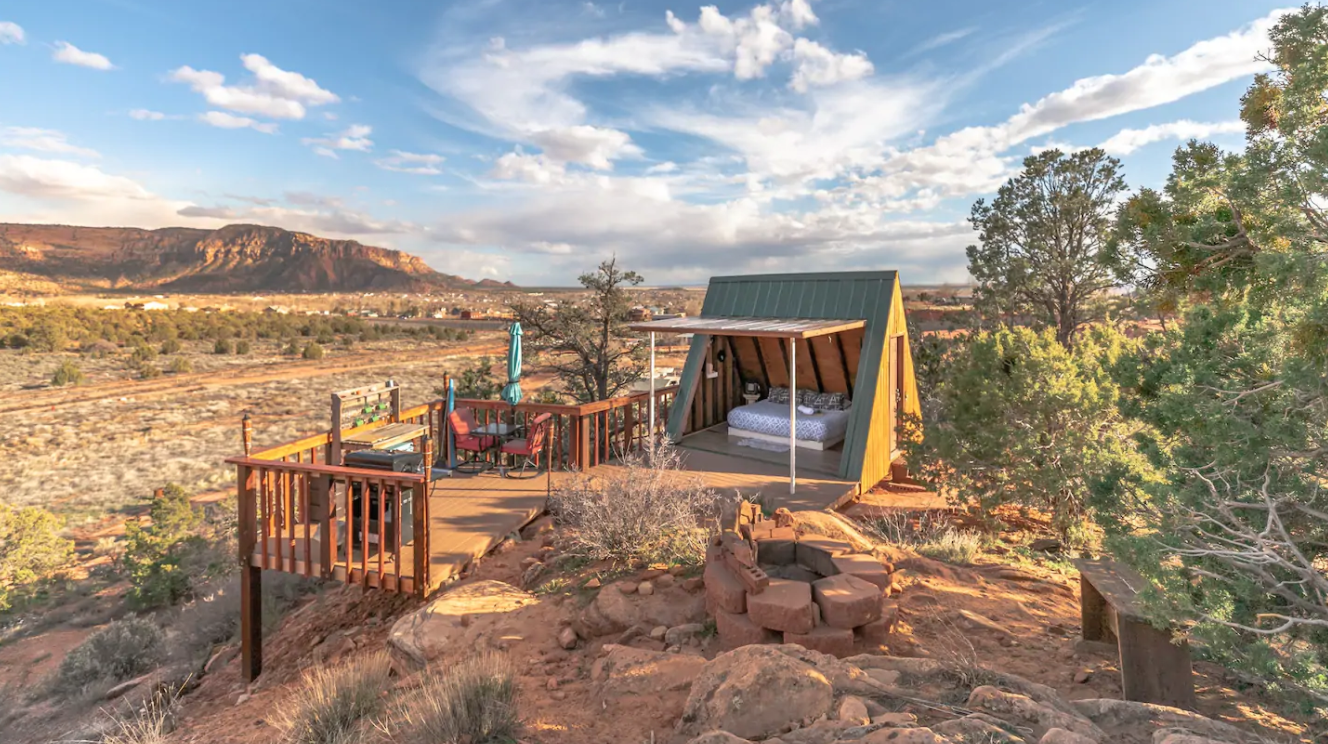 Go Off-Grid In The Utah Wilderness When You Stay At This A-Frame Cabin With Mountain Views